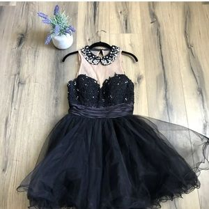 Sherri Hill Black Beaded Collar Short Formal Dress